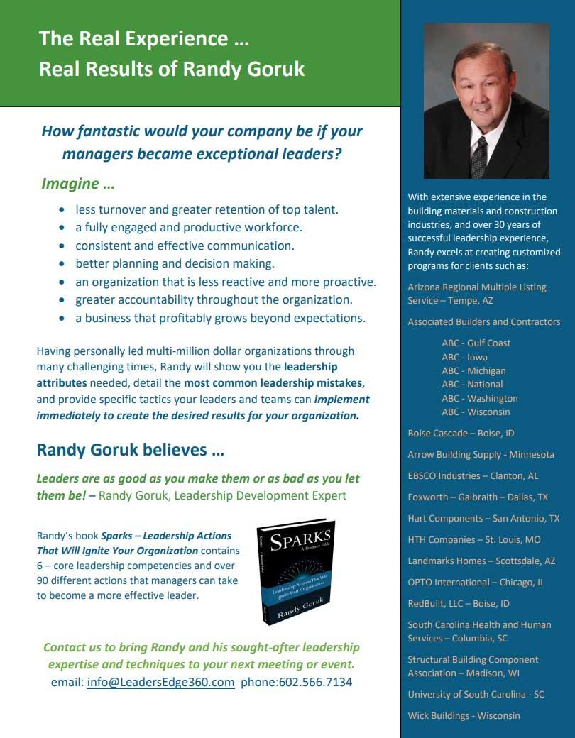 Randy Goruk One Sheet